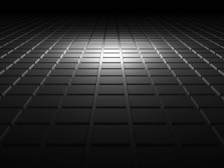 interior cell: Abstract black shining digital background with square relief pattern on floor, 3d illustration