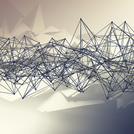 toned: Abstract futuristic polygonal structure and wire-frame lattice mesh. Toned square 3d render illustration Stock Photo