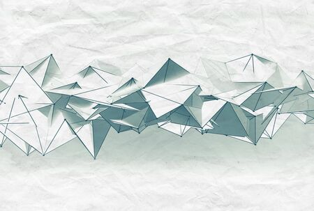 mesh structure: Abstract futuristic surface mesh structure over old paper sheet, 3d render illustration