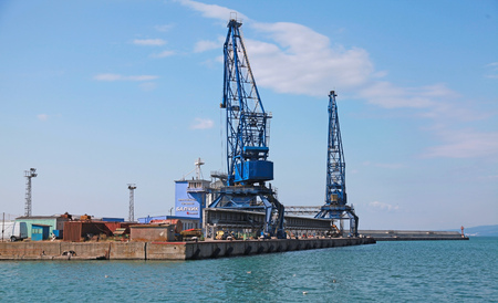 balchik: Balchik, Bulgaria - July 18, 2014: Cranes in cargo terminal of Balchik port, Bulgaria. Black Sea coast Editorial