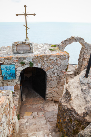 headland: Balchik, Bulgaria - July 18, 2014: Small stone chapel Sveti Nikola at the cape tip. Kaliakra headland Editorial