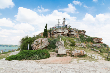 balchik: Balchik, Bulgaria - July 18, 2014: Viewpoint with ordinary tourists on the tip of Kaliakra headland, Bulgaria