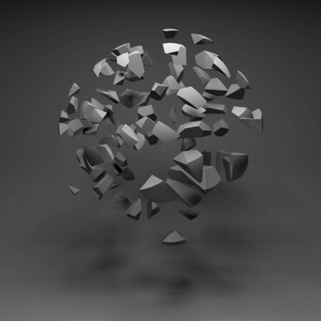 fragments: Abstract spherical cloud of explosive fragments in black empty room interior, 3d render illustration