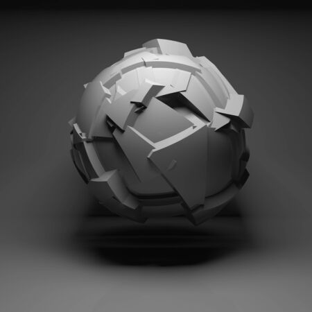 fragmentation: Abstract flying spherical object with chaotic fragmentation surface in black empty room interior, 3d render illustration