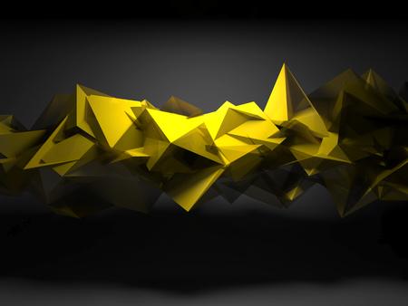 抽象的なデジタル背景、混沌とした多角形構造、3 d を輝く黄色のインテリア レンダリング図