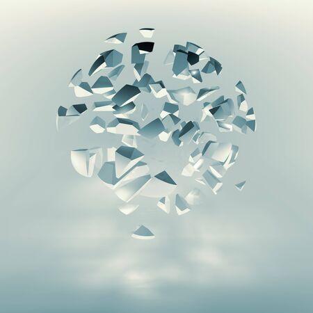 fragments: Spherical cloud of explosive fragments, blue toned 3d render illustration