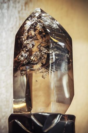 quartz crystal: Closeup photo of natural transparent quartz crystal