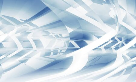 chaotically: Abstract digital background with blue chaotically bent light structures, 3d illustration Stock Photo