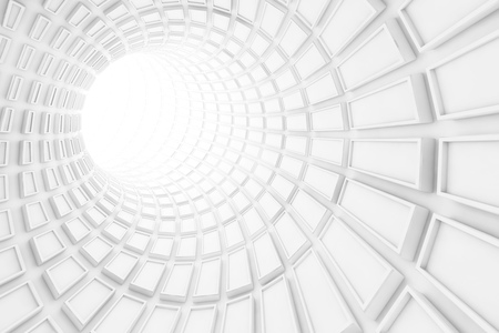 turning: Turning white tunnel interior with technological extruded tiling. 3d illustration