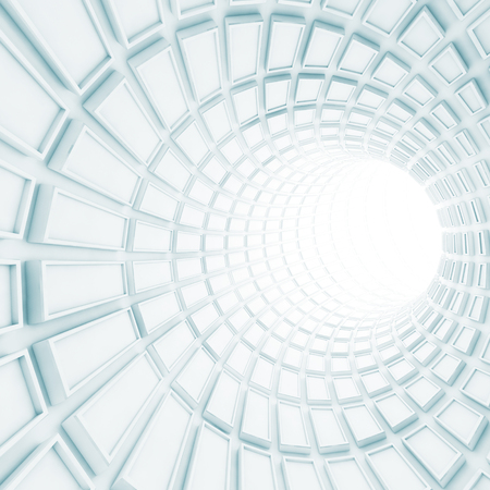 Turning white tunnel interior with technological extruded tiling. Digital 3d illustration Stock Photo