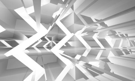 3 d illustration: Abstract white digital background with chaotically light structures pattern, 3d illustration