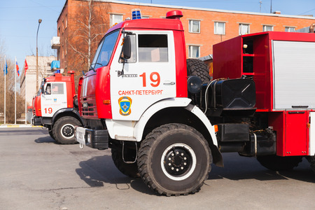 fire engine: St. Petersburg, Russia - April 9, 2016: Cabin of Kamaz 43253 as a Russian fire engine modification