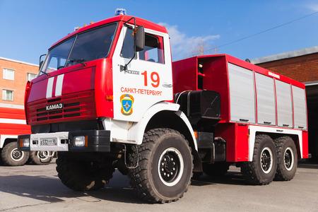 voiture de pompiers: St. Petersburg, Russia - April 9, 2016: Closeup photo of Kamaz 43253 as a Russian fire engine modification