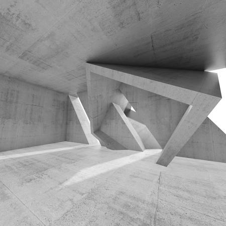 Abstract design degli interni di cemento vuoto con le strutture della colonna caotiche. L'architettura moderna, quadrato, illustrazione di rendering 3D