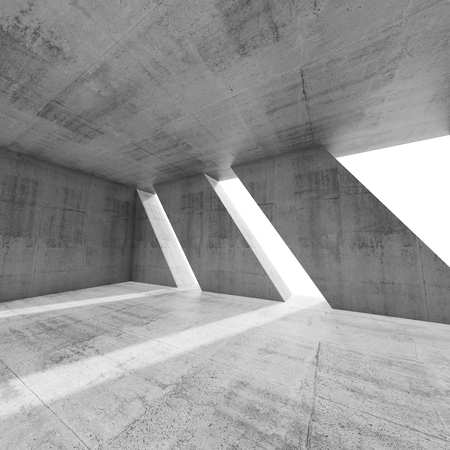 modern interior: Abstract square empty concrete interior with windows. Modern architecture background, 3d render illustration