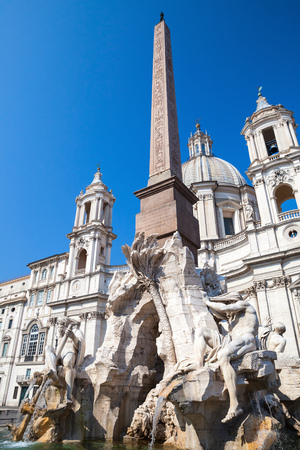 navona: Fountain of the Four Rivers in the Piazza Navona in Rome, Italy Stock Photo