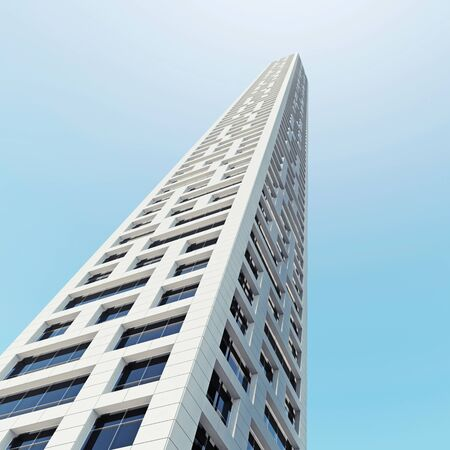 skyscraper sky: Abstract modern skyscraper architecture. Office tower perspective over blue sky. 3d render illustration