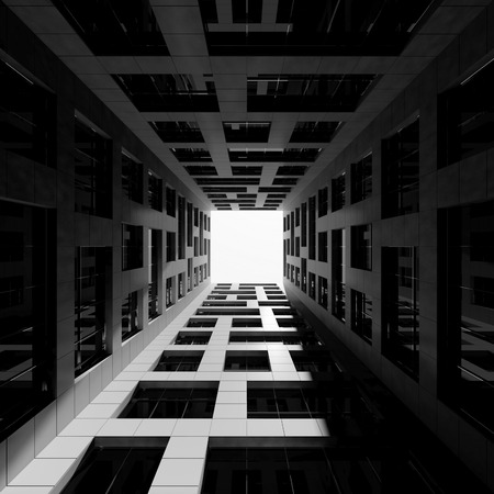 Abstract modern architecture. Inner courtyard of tall modern office tower. 3d render illustration