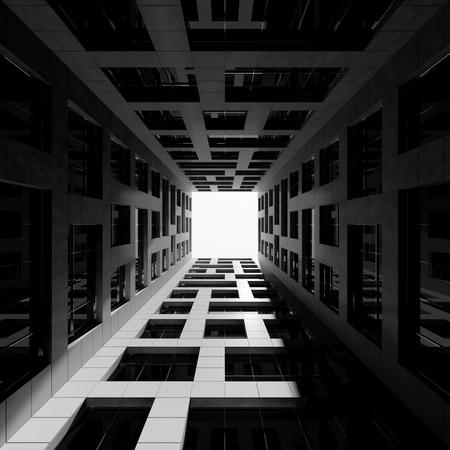 Abstracte moderne architectuur. Binnenplaats van lange moderne kantoortoren. 3D render illustratie Stockfoto