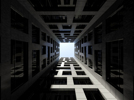 the courtyard: Abstract modern architecture. Dark inner courtyard of tall modern office tower. 3d render illustration