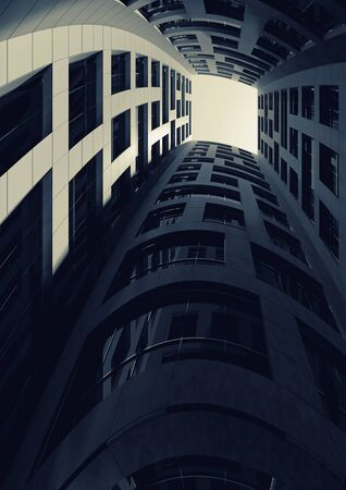 the courtyard: Abstract modern architecture. Dark inner courtyard of tall bent tower. 3d render illustration Stock Photo