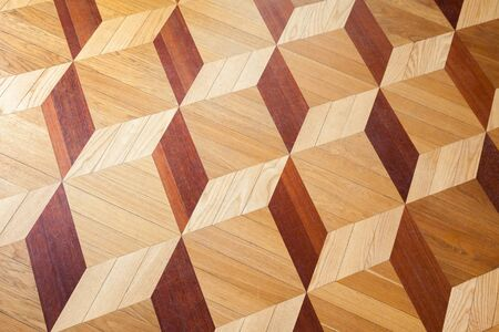 tiling background: Classical wooden parquet with cubes pattern, decorative tiling background texture