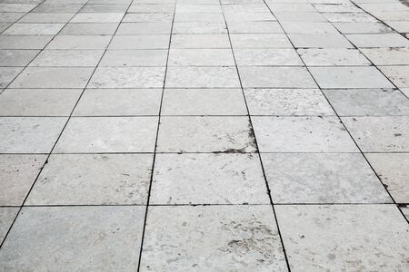 tiling: Gray stone pavement perspective, square floor tiling background photo texture
