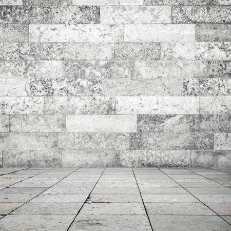 decorative wall: Abstract empty interior background, stone floor tiling and white decorative wall Stock Photo