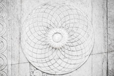 portico: Round ancient stone carving ornament, white portico fragment. Smyrna, Izmir, Turkey Stock Photo