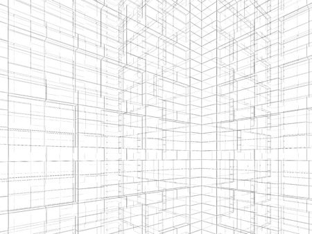 wire frame: Abstract digital graphic background. Artificial geometric structures made of black wire frame lines on white background. 3d render illustration