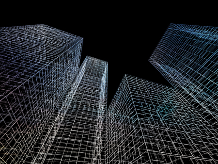 wire frame: Abstract digital graphic background. Modern skyscrapers perspective. Colorful wire frame lines over black background. 3d render illustration