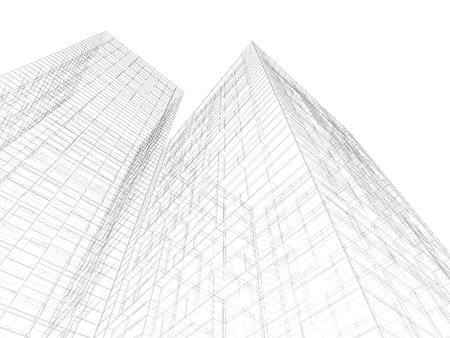 Abstract digital graphic background. Modern buildings, black wire frame lines isolated on white background. 3d render illustration 스톡 콘텐츠