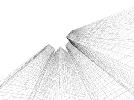 wire frame: Abstract digital graphic background. Modern buildings made of black wire frame lines isolated on white background. 3d render illustration