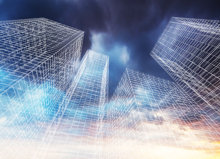 wire frame: Abstract digital graphic background. Modern skyscrapers perspective. Wire frame lines over colorful dramatic cloudy sky background. 3d render illustration
