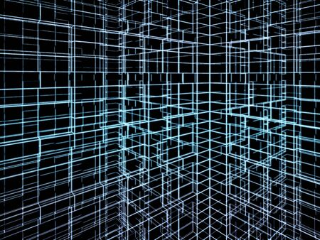 cg: Abstract digital graphic background. Pattern of geometric constructions, glowing blue neon wire frame lines on black background. 3d render illustration Stock Photo