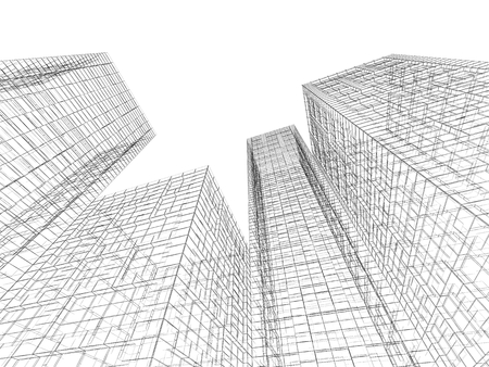 wire frame: Abstract digital graphic background. Tall buildings perspective view, black wire frame lines isolated on white background. 3d render illustration Stock Photo