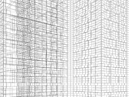 wire frame: Abstract digital background. Artificial geometric structures made of black wire frame lines on white background. 3d render illustration