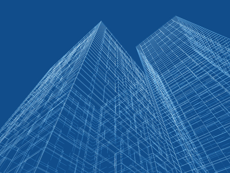wire frame: Abstract digital graphic background. Modern skyscrapers perspective. Wire frame lines over blue background. 3d render illustration Stock Photo
