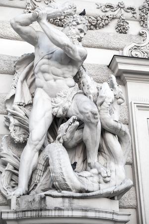 Hercules and Lernaean Hydra, staute inside the Hofburg Palace yard, Viena, Austria Banco de Imagens - 56758923