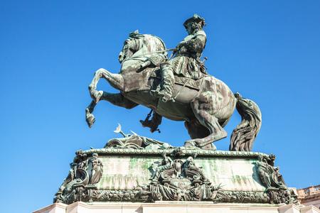 anton: Monument of Prince Eugene of Savoy. Monument in Heldenplatz, Vienna, designed by Anton Dominik Fernkorn in 1865 Stock Photo