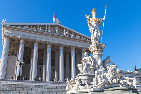 pallas: Vienna, Austria - November 2, 2015: Pallas Athene Fountain located in front of the Austrian Parliament Building, it was erected between 1893 and 1902 by Carl Kundmann, Josef Tautenhayn, Hugo Haerdtl