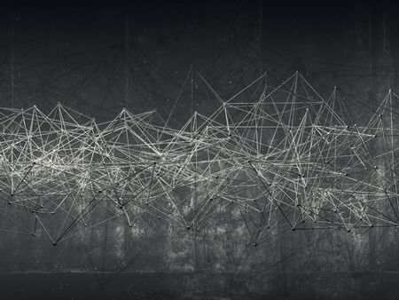 mesh structure: Abstract wire frame mesh structure over dark concrete wall background, 3d render illustration