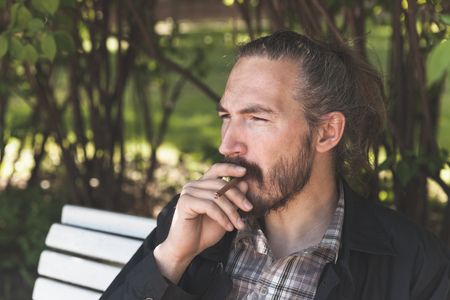 hombre fumando puro: Bearded Asian man smoking cigar in summer park, outdoor portrait with selective focus