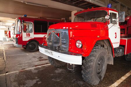 fire engine: Saint-Petersburg, Russia - April 9, 2016: Turntable ladder fire truck AL-30. ZIL 131 Russian fire engine