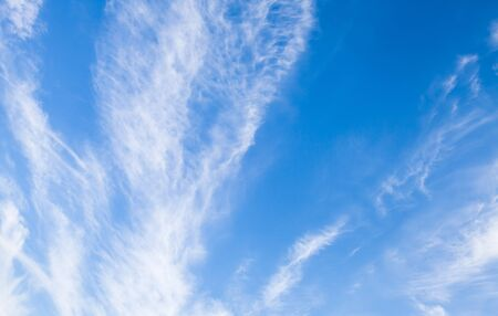 stratus: Cirrus clouds in bright blue sky, natural background photo texture