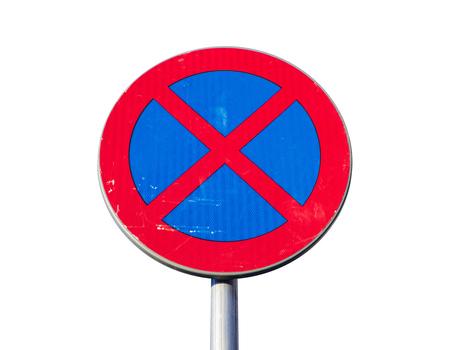 prohibido: Est� prohibido Permanente. se�al de tr�fico redondo aislado en el fondo blanco