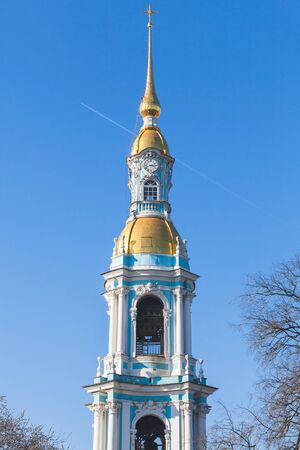 st nicholas cathedral: Bell tower of Naval Orthodox St. Nicholas Cathedral in St-Petersburg, Russia