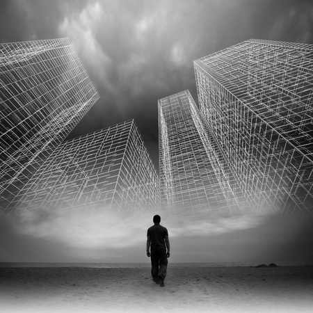 ghost town: Man goes under dark cloudy sky with abstract wire frame structures, black and white collage photo mixed with digital 3d illustration Stock Photo