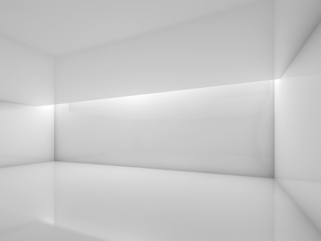 illumination: Abstract white contemporary interior, empty room with glossy walls and ceiling illumination. Digital 3d illustration, computer graphic