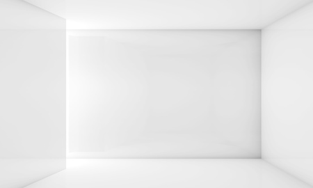 frontal view: Abstract white contemporary interior, frontal view of an empty room with soft illumination. Digital 3d illustration, computer graphic Stock Photo